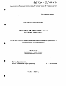 Управление рисками на объектах газового комплекса диссертация по  Диссертация по информатике вычислительной технике и управлению на тему Управление рисками на объектах газового